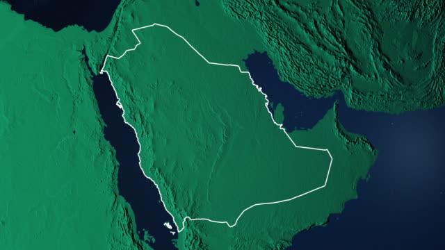 stockvideo's en b-roll-footage met aarde met grenzen van saudi-arabië digitaal - riyad