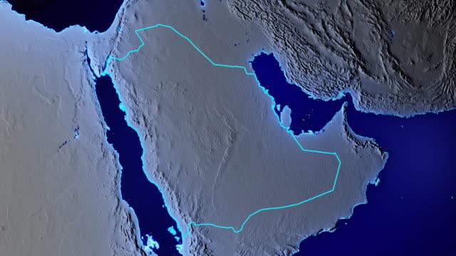 stockvideo's en b-roll-footage met aarde met grenzen van saudi-arabië transparant - riyad