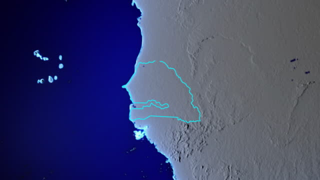 earth with borders of senegal transparent - dakar video stock e b–roll