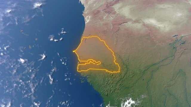 terra con confini del senegal - dakar video stock e b–roll