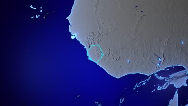 terra con confini della sierra leone trasparenti - sierra leone video stock e b–roll