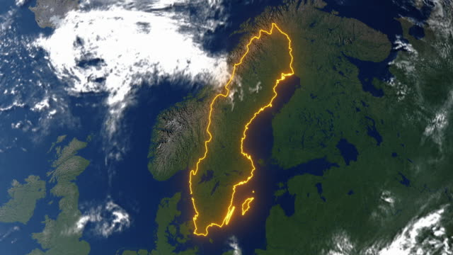 Earth with borders of Sweden video