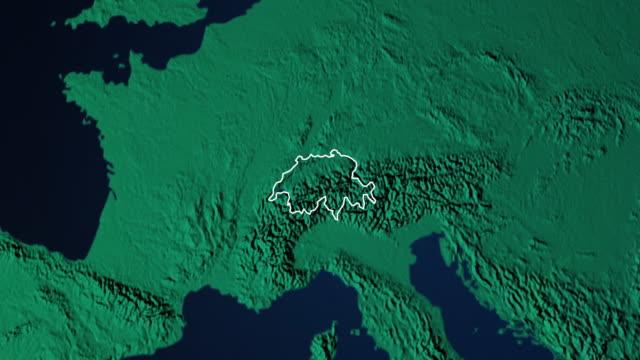 Erde mit Grenzen der Schweiz digital – Video