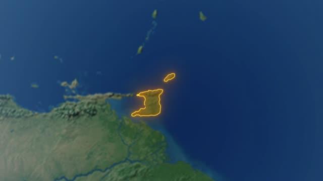 Erde mit Grenzen von Trinidad und Tobago – Video