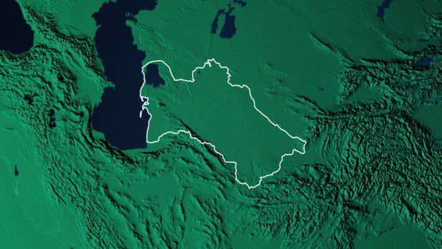 Earth with borders of Turkmenistan digital Digital 3d animated earth showing the borders of the country Turkmenistan and the capital Ashgabat in 4K resolution at daytime turkmenistan stock videos & royalty-free footage