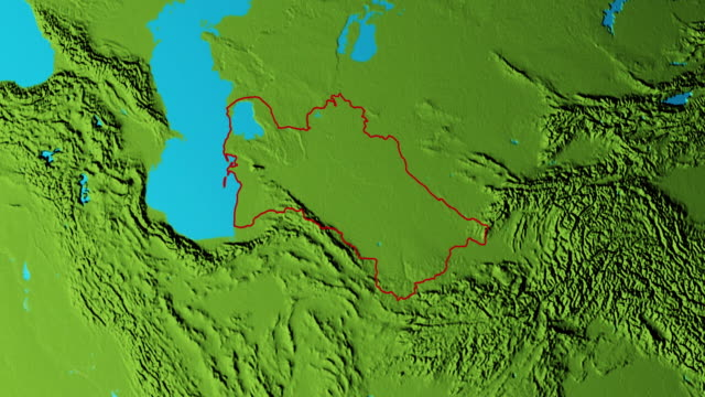 Earth with borders of Turkmenistan graphic Graphic 3d animated earth showing the borders of the country Turkmenistan and the capital Ashgabat in 4K resolution at daytime turkmenistan stock videos & royalty-free footage