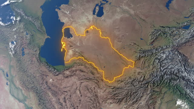 Earth with borders of Turkmenistan Realistic 3d animated earth showing the borders of the country Turkmenistan and the capital Ashgabat in 4K resolution turkmenistan stock videos & royalty-free footage