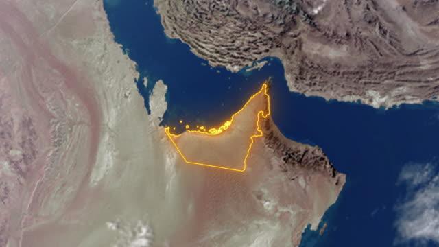 jorden med gränser för förenade arabemiraten (uae) - map oceans bildbanksvideor och videomaterial från bakom kulisserna