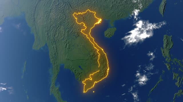 Earth with borders of Vietnam