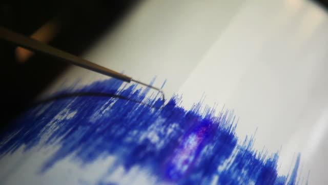 Earthquake Seismometer Seismograph goes wild during an earthquake. earthquake stock videos & royalty-free footage