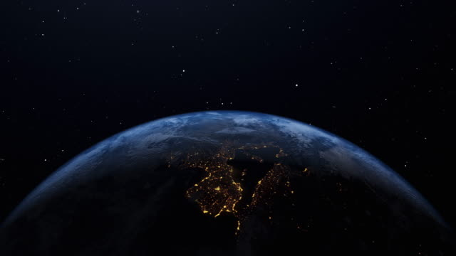 Earth's rotation loop with night side city lights