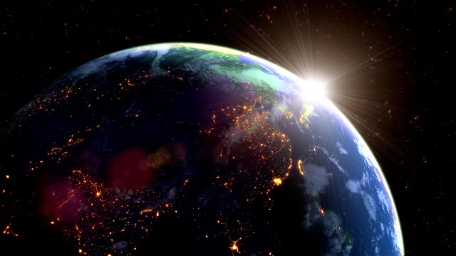 Earth's rotation loop with night side city lights video