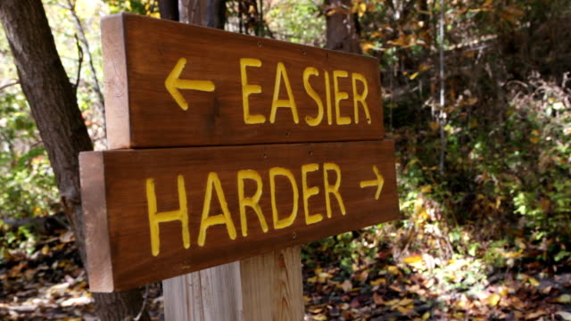Easier or Harder trail. Biker takes hard route. Sign in the woods shows two options. Mountain biker goes past choosing the harder trail. Don Valley, Toronto, Ontario, Canada. effortless stock videos & royalty-free footage