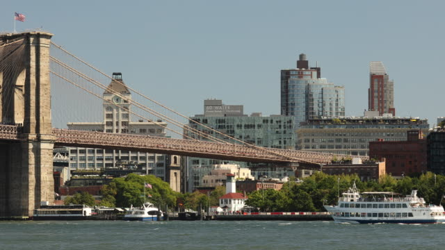 East river under the Manhattan and Brooklyn Bridges in New York City USA Brooklyn Bridge skyline view from Manhattan New York City USA manhattan bridge stock videos & royalty-free footage
