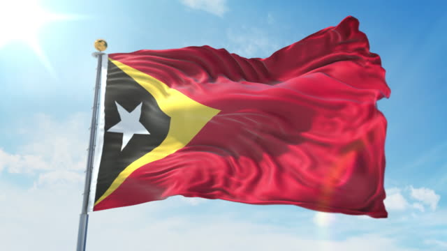 East Timor flag waving in the wind against deep blue sky. National theme, international concept. 3D Render Seamless Loop 4K East Timor flag waving in the wind against deep blue sky. National theme, international concept. 3D Render Seamless Loop 4K allegory painting stock videos & royalty-free footage