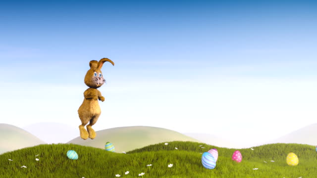 Easter bunny jumping and waving video