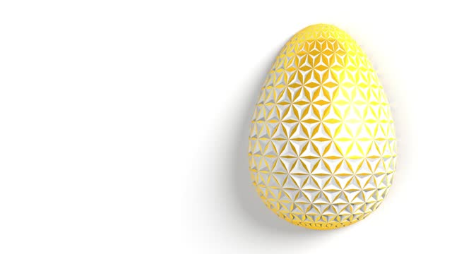 Easter concept. The surface of the golden egg with white three-dimensional three-dimensional geometric patterns of different sizes that make up the grid. 3d illustration seamless loop animation.