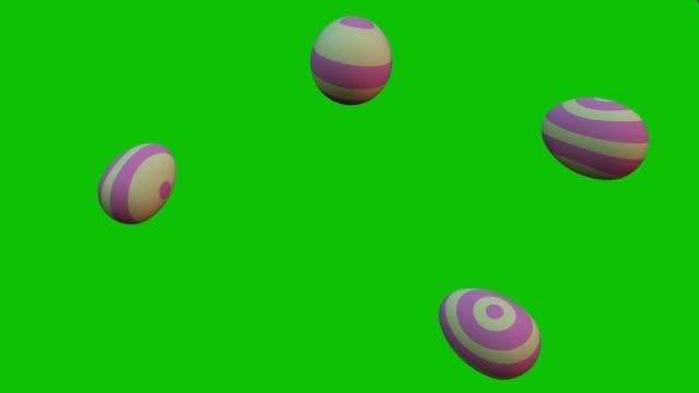 uova di pasqua che cadono sullo schermo verde. animazione 3d - easter video stock e b–roll