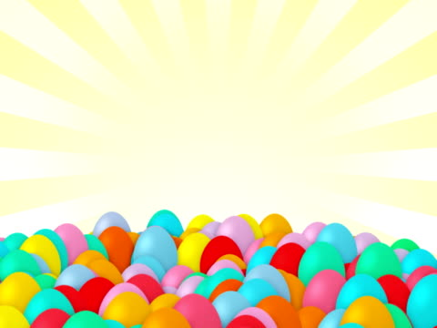Easter eggs falling, isolated, alpha matte, copy space, loopable video
