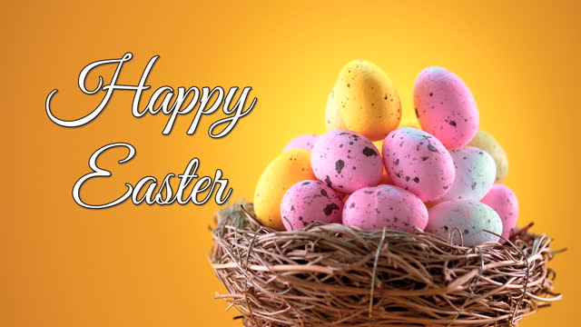Easter eggs in a nest on yellow background