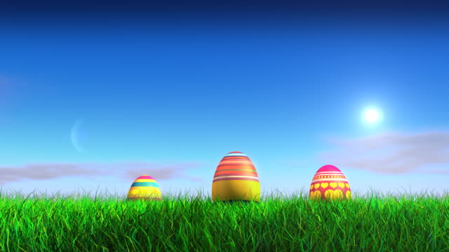 Easter Eggs on grass field video