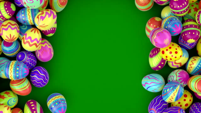 Easter eggs on solid background.