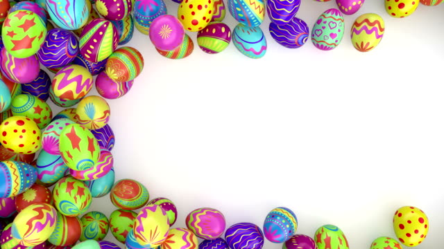 Easter eggs on solid White background. video