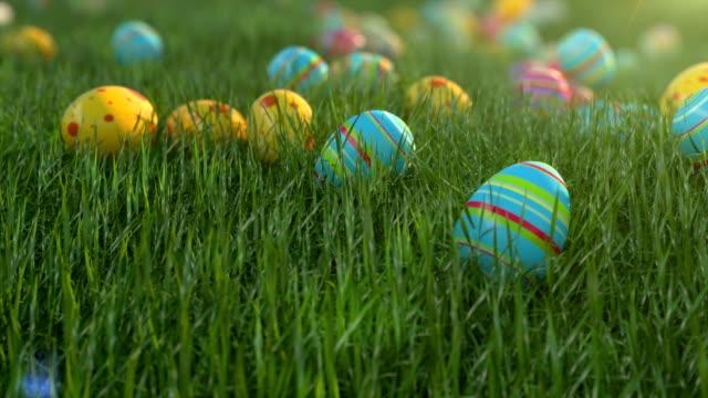 uova di pasqua sull'erba. le uova di pasqua scivolano lungo il pendio coperto di cereali verdi. clima positivo soleggiato. - easter video stock e b–roll