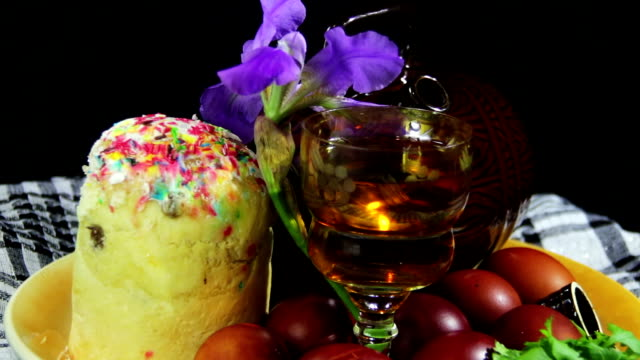 Easter Rotate on a Plate with Eggs and Barrels of Georgian Wine video