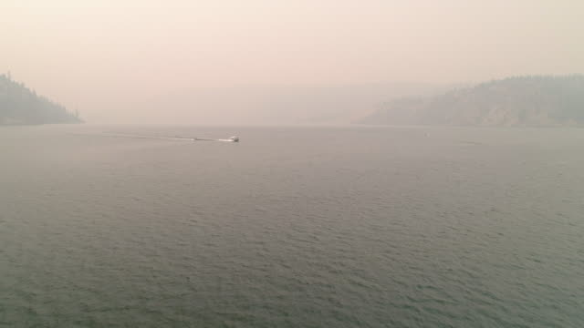 Eastern Washington Wildfire Smoke Aerial of Boating and Tubing video
