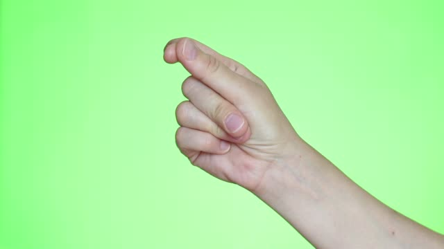 Easy Concept. Finger Snapping Hand Gesture Hand close-up. Chroma key background. Green Screen. Isolated finger stock videos & royalty-free footage