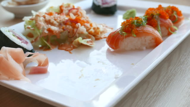 Eat sushi time lapse video
