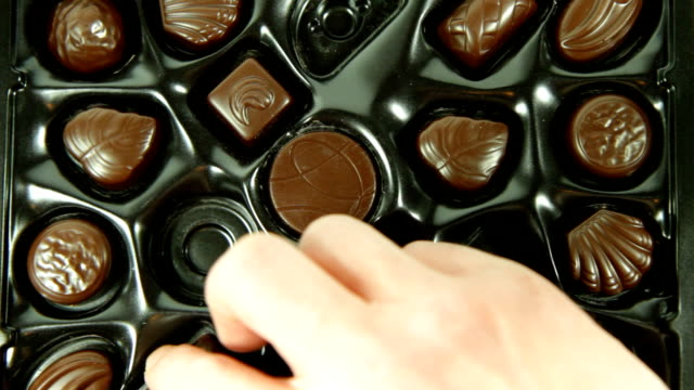 Eating a box of Chocolates. HD, NTSC, PAL video