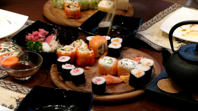 Eating a sushi time lapse video