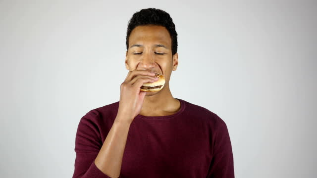 Eating Burger, Chewing Hungry Young Man video