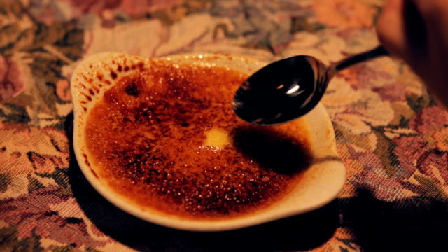 eating creme brulee - french food stock videos and b-roll footage