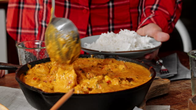 Eating Delicous Homemade Chicken Curry Dish with Rice video