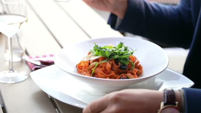 Eating fresh pasta video