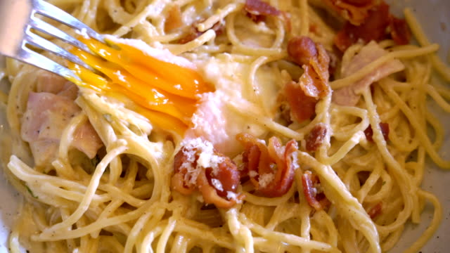 Eating Spaghetthi Cabonara. video