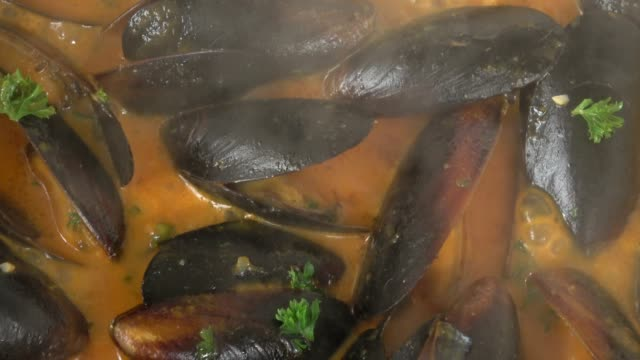 vídeos de stock e filmes b-roll de eating steamed pei mussels in savory tomato garlic sauce. - sauce tomatoes