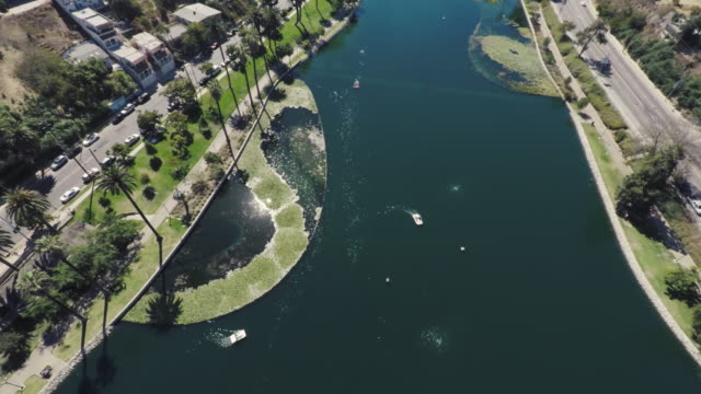 Echo Park Lake Los Angeles Aerial View Echo Park Lake Los Angeles Aerial View east stock videos & royalty-free footage