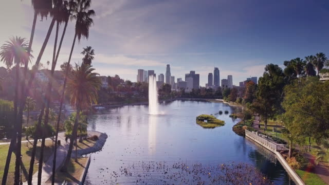 echo park lake, los angeles - drone shot - деловой центр города стоковые видео и кадры b-roll