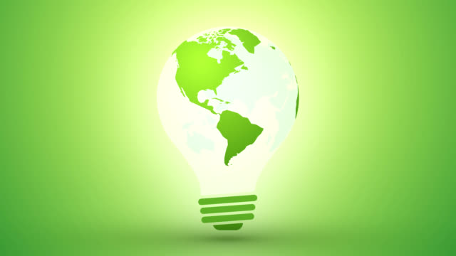 eco light bulb with world saving concept motion background loop