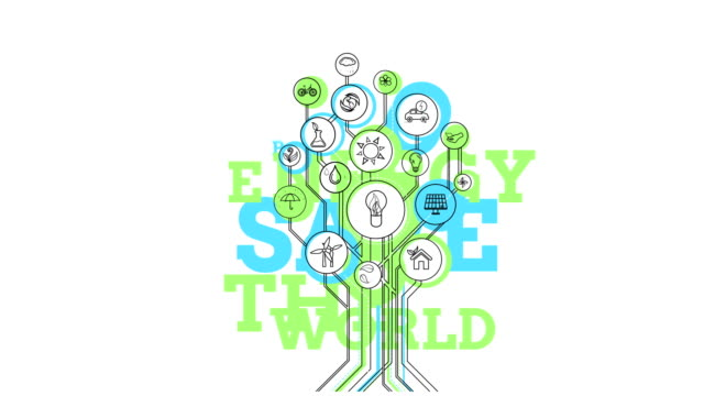 Ecological Icons Tree. Bio Energy. 4K video