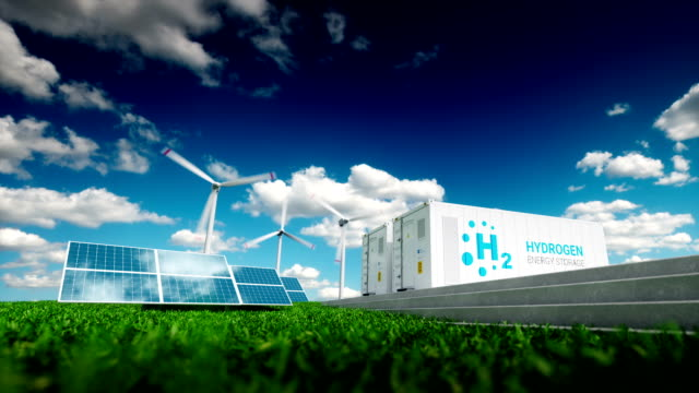 Ecology energy storage solution. Power to gas concept. video