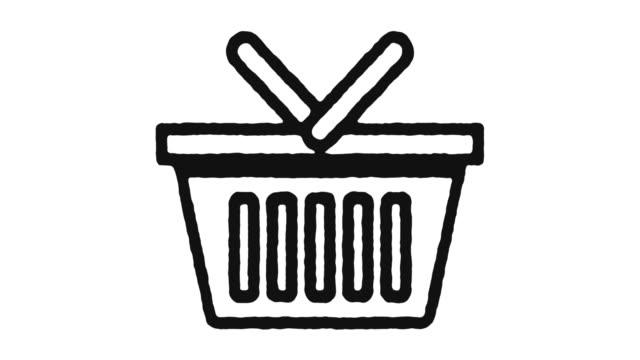 vídeos de stock e filmes b-roll de e-commerce icon animation footage & alpha channel - shop icon