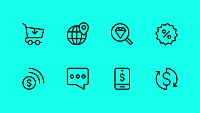 vídeos de stock e filmes b-roll de e-commerce icons - vector animate - shop icon