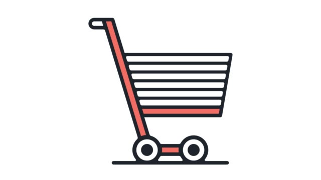 ecommerce shopping cart‎ flat line icon animation with alpha - icona supermercato video stock e b–roll