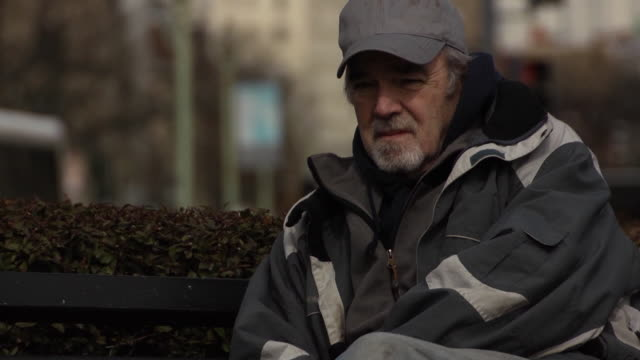 Economically Distress Man in Urban Setting - MS video