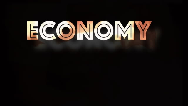 Economy crash graphic with fire and black background